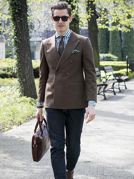 Мужской пиджак с прорезными карманами